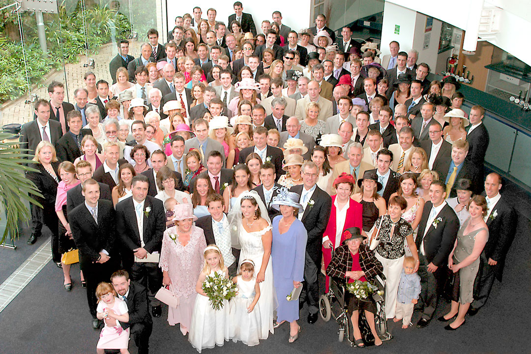 large wedding group in tradition wedding photography style