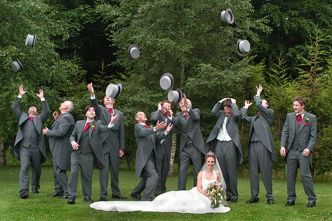Top hats being thrown for photographer in Derbyshire