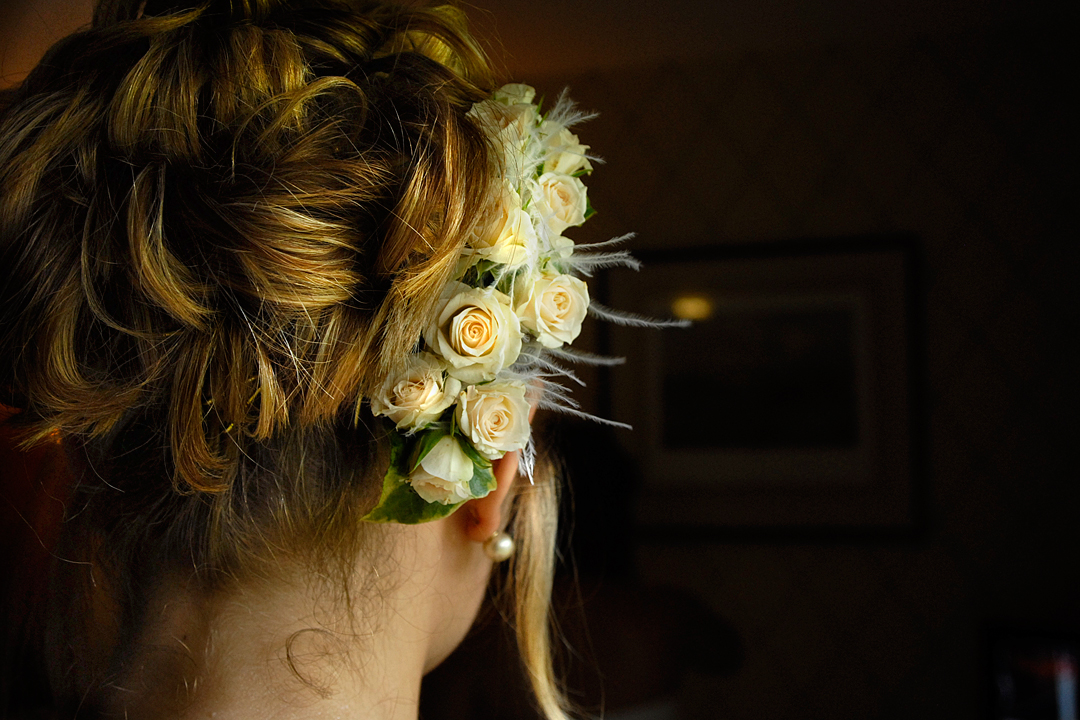 wedding photography of a brides hair in Nottinghamshire